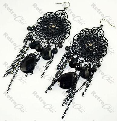 Big Encaje Negro Largos Gotico pendientes de araña Victoriana Goth Vintage Estilo Dp