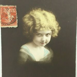 Postcard RPPC Early 1900s Vintage French Girl Child Side Pose Posted