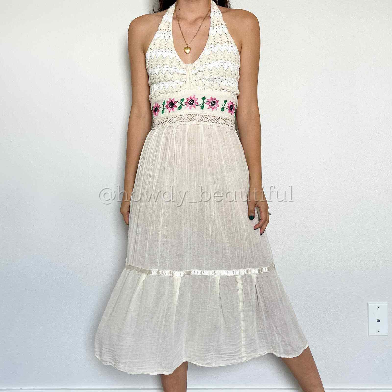 Mexican Dress Crochet Embroidered Boho Gauze - image 1