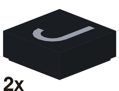 """3070 2 St NEUE 1x1 Fliese schwarz mit silbernem Buchstaben-Aufdruck /""""J/"""" 6"""