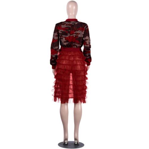 Women Cute Printed Ruffled Mesh Patchwork Long Sleeves Zipper Casual Long Coat