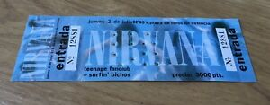 NIRVANA-original-ticket-concert-1992-Spain-Sonic-Youth-EX-Pearl-Jam-Vinyl