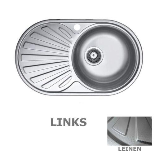 Spüle Becken EDELSTAHL Einbauspüle LEINEN oder SATIN Rostfrei LAVEO SGNG