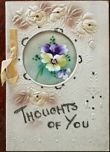 Thoughts-of-You-Embossed-Vintage-Christmas-Card-with-Ribbons-amp-Glitter-W-amp-K-Ar