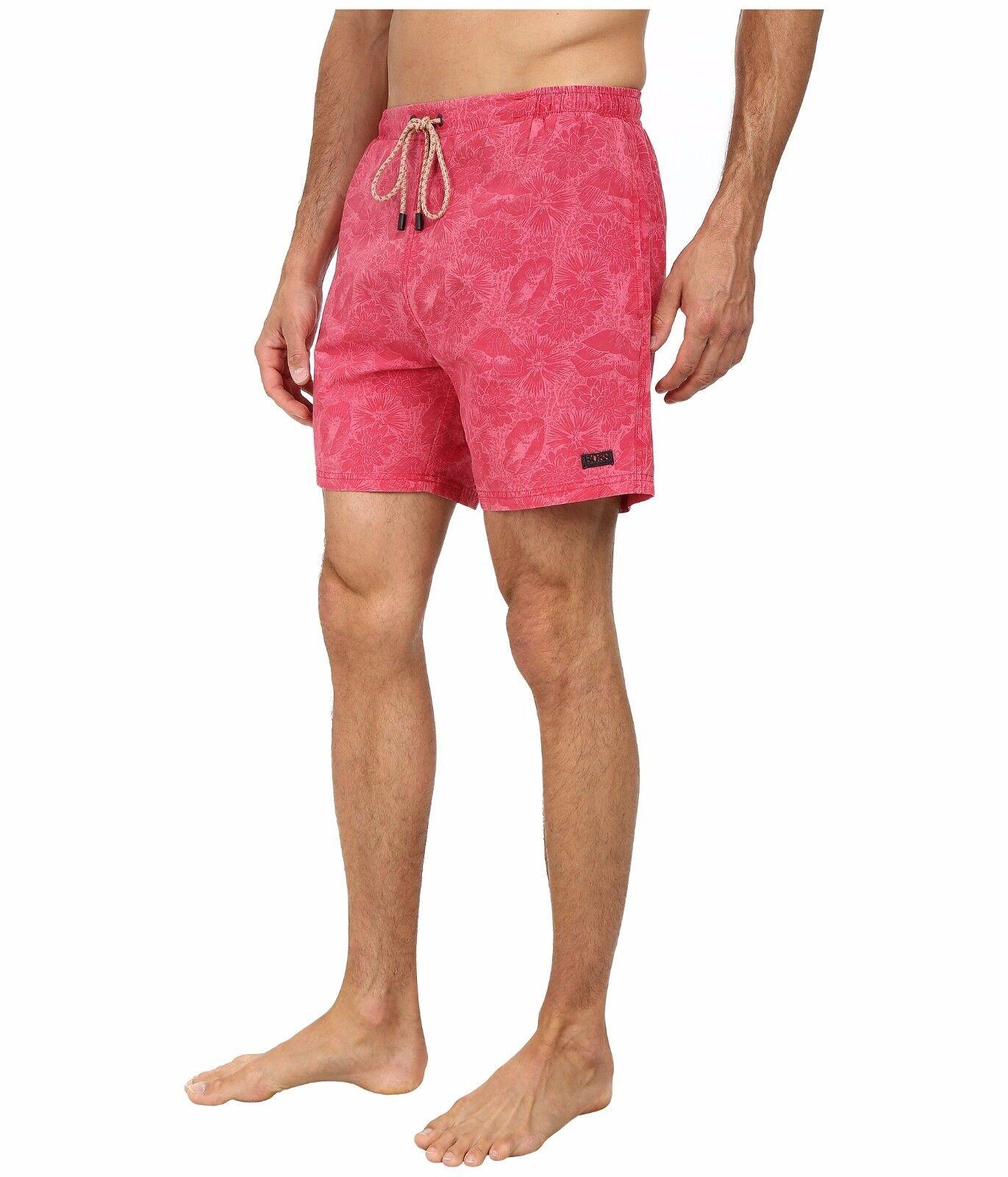 NEW HUGO BOSS pink red swim trunks shorts swimsuit AMAGOFISH sz Large L
