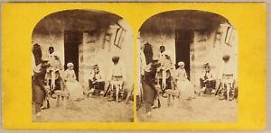 Scena Rurale Artistico Ca 1860 Foto Stereo Vintage Albumina