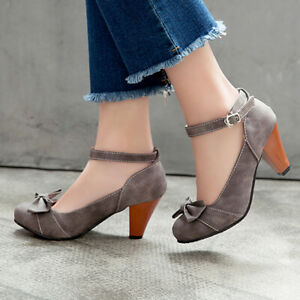Women-039-s-Bow-Round-Toe-Ankle-Strap-Block-High-Heels-Dress-Mary-Janes-Pumps-Shoes