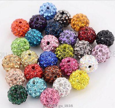 10MM MIX Color 100 Pcs Crystal Shamballa Beads Pave Disco Balls Bracelet Making