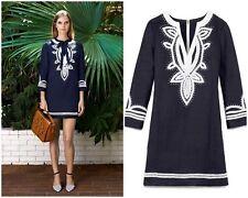 Tory Burch Odelia Embroidered Linen Tunic Dress Navy 0 Blue Caftan Resort XS