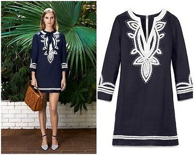 9507c416d532 Tory Burch Odelia Embroidered Linen Tunic Dress Navy 8 Blue Caftan Resort M  NWOT
