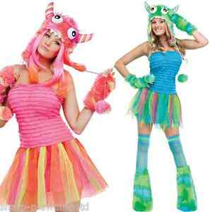 Mujer-Sexy-4-piezas-verde-rosa-Halloween-Monster-Rave-Disfraz