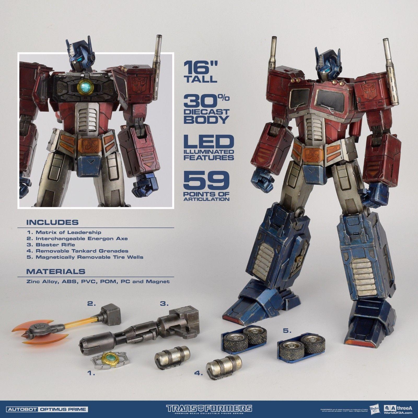 Transformers Hasbro x threeA Optimus Prime G1 Premium Classic 16'' 30% Diecast