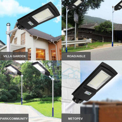 145000LM 150W Commercial Solar LED Street Light IP67 Area Road Lamp+Remote+Pole