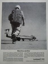 11/1963 PUB LOCKHEED F-104 STARFIGHTER PILOTE CASQUE HELMET ORIGINAL GERMAN AD