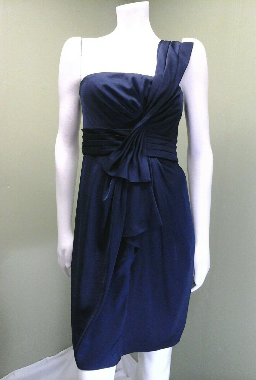BCBG Max Azria One Shoulder Empire Waist Palais Navy bluee Sateen Dress Size 8