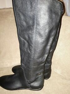 black Leather riding Winter Boots Size