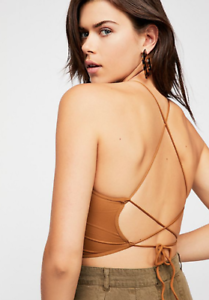 NEW-Free-People-Intimately-Lace-Up-Brami-Crop-Top-in-Gold-Size-XS-S-amp-M-L-36-68