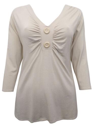 Nouveau Femme Double boutonnage à manches 3//4 haut en jersey Amande Tailles 10-16