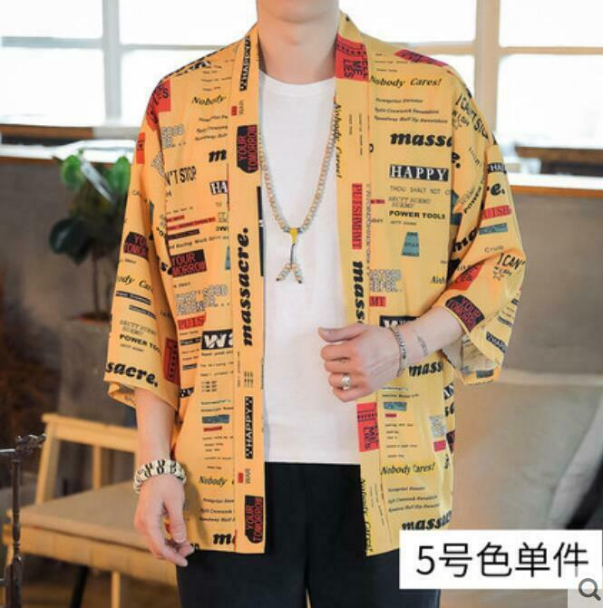 Mens Retro Loose Floral Cotton Kimono Coat Hanfu Shawl Comfort Summer Tops Zsell