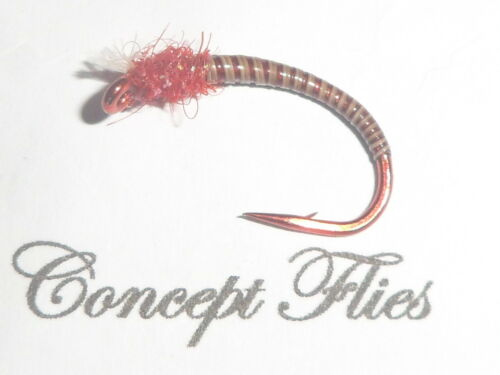 Lot de 3 Rouge Taille 10 Glister thorax Quill Buzzers Red Hook Specials conceptflies