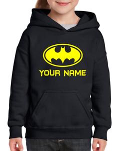 Funky Personalised Batman Superhero Kids Hoodie Jumper Ages 3-12