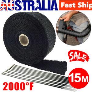 2000F-Exhaust-Wrap-Heat-Resistant-15M-50mm-10-Stainless-Steel-Ties-Black