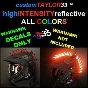 Reflective DECALS For Rubber Helmet Warhawks Dirtbike Motorcross - Reflective motorcycle helmet decals