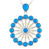 Andrea Candela 18k Yellow Gold Silver Blue Turquoise Cable Necklace Acn150-tq
