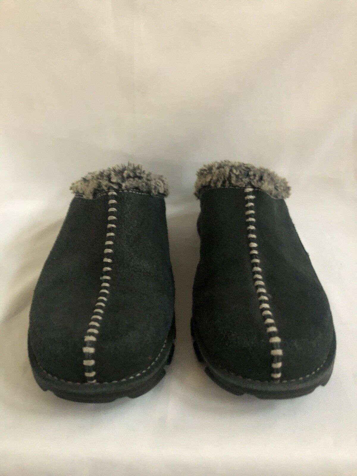 Very Nice Womens Columbia Cortina /Black Suede Clogs Mules Slip-Ons-lined 7.5