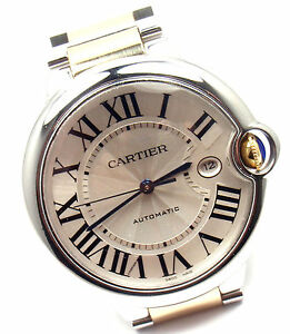 Authentic-Cartier-Ballon-Bleu-18k-Gold-Steel-Automatic-42mm-Men-039-s-Watch-3001