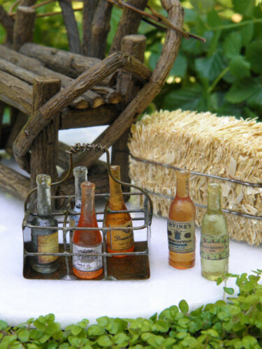 Miniature Dollhouse FAIRY GARDEN ~ Antiqued Wire Basket w/ 6 Wine Bottles ~ NEW