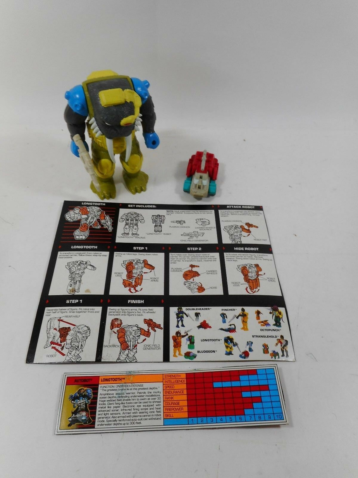 TRANSFORMERS G1 PRETENDER LONGTOOTH COMPLETE W INSTRUCTION CARD 1989 HASBRO