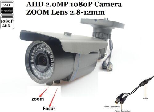"CCTV AHD Waterpr Camera 1//3/"" 1080P 2.0 MP Sony IMX322+NVP2441 Zoom Lens 2.8-12mm"