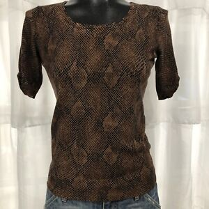 XS Womans WHITE HOUSE BLACK MARKET Brown Snakeskin Print Short Sleeve Knit Top