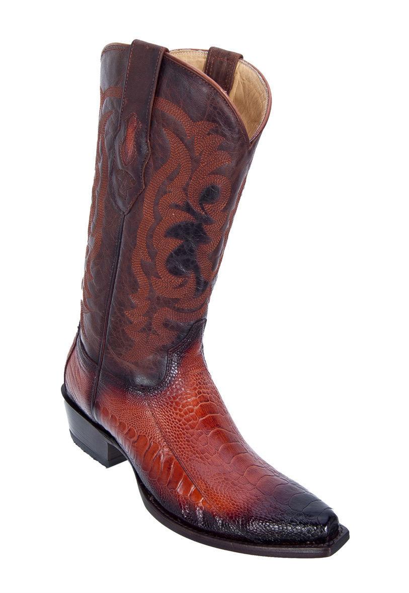LOS ALTOS COGNAC GENUINE SNIP TOE OSTRICH LEG WESTERN COWBOY avvio (EE)