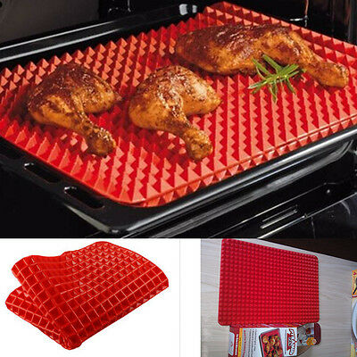 Pyramid Pan Fat Reducing Silicone Cooking Mat Non-stick Oven Baking Tray Sheet
