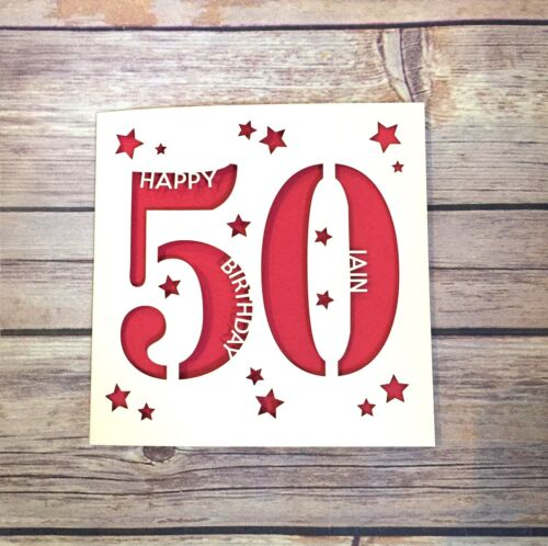cinquante Carte Personnalisé 50th Carte d/'anniversaire fait main papa 50th maman 50th