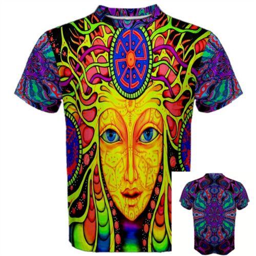 DMT Female Face Psychedelic Pattern Drug lsd Acid hippie Trippy Mens T-SHIRT PF3