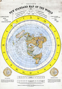 1892 Map Of The World.1892 Flat Earth Map Alexander Gleason New Standard Map Of The