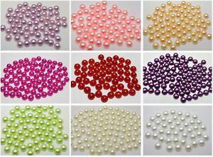 500-Half-Pearl-Bead-8mm-Flat-Back-Gem-Scrapbook-Craft-Pick-Your-Colour