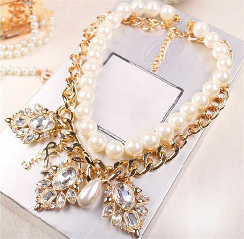 New Chic Fashion Crystal Bib Chain Statement Necklace Chunky Pearl Hot Jewelry