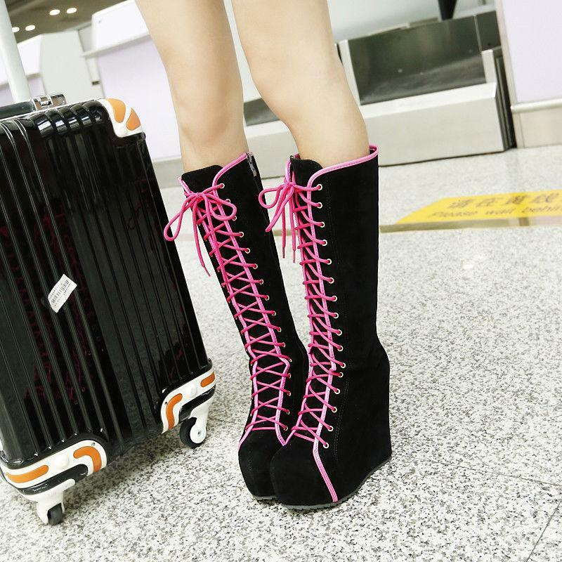 Trendy Women Faux Suede Knee High Boots Platform Wedge High Heels Lace Up shoes