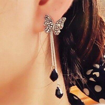 Fashion Stunning Tassel Rhinestone Crystal Butterfly Waterdrop Pendant Earring