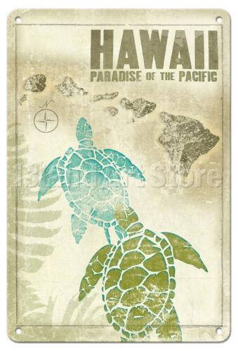 Honu Hawaii Turtles - Wade Koniakowsky Vintage Travel Poster Metal Tin Sign