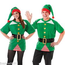 Mens Ladies Jolly Elf Santa's Helper Grotto Fancy Dress Costume Top Belt Hat Kit