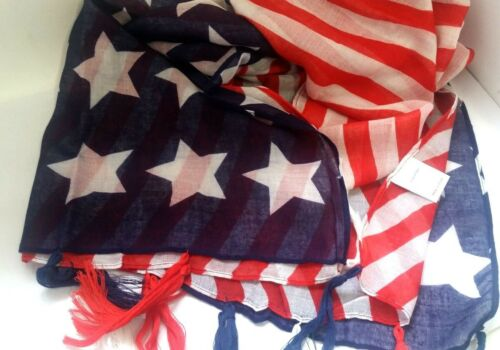 USA America flag color Red Blue White Star Light Summer Scarf tassels Z01-USA//22