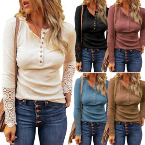 Women Henley Shirt Ribbed Lace Long Sleeve Button Down Tshirt Causal Blouse Tops