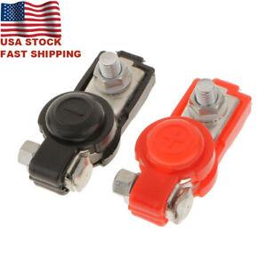 Pair Auto Car Battery Terminal Adjustable Clamp Clip Connector Positive+Nagative