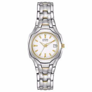 Citizen Eco-Drive Women's White Dial Two-Tone Sport 25mm Watch EW1254-53A