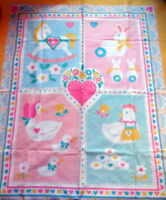 Fabric Panel Crib Quilt Baby Spring Hearts Pastels Duck Bunny + Fabri-quilt